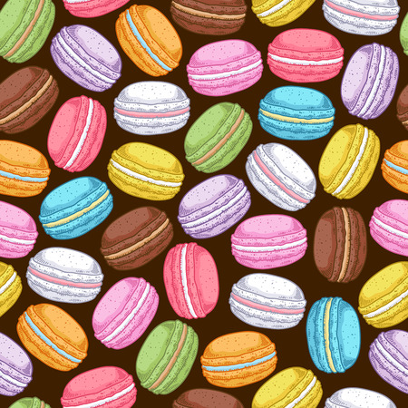 Seamless assorted macarons pattern. Macaroon background - dark color. Illusztráció