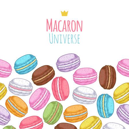 macaron: Seamless sortierten macarons horizontalen Muster. Macaroon Hintergrund mit Worten - Macaron Universe. Illustration