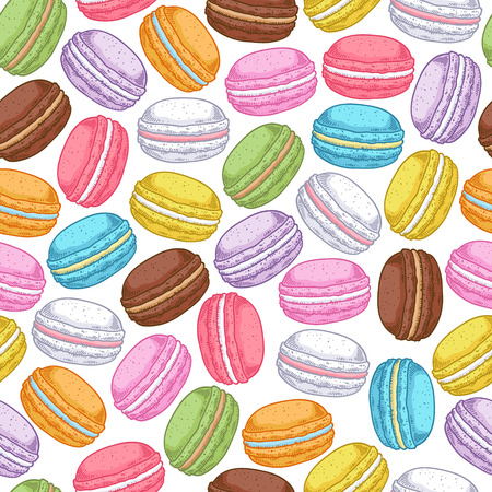 macaron: Seamless assorted macarons pattern. Macaroon background - white color.