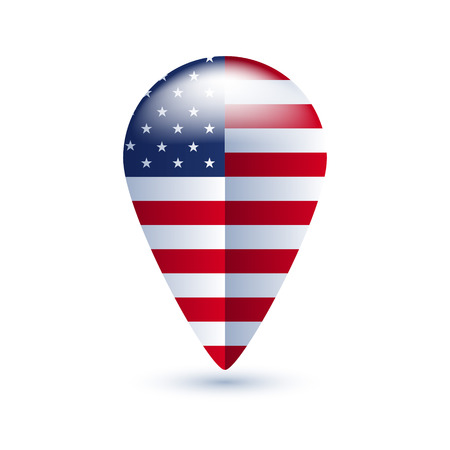 3d pointer: Map location pin with national country flag - USA.