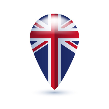 uk flag: Map location pin with national country flag - UK. Illustration