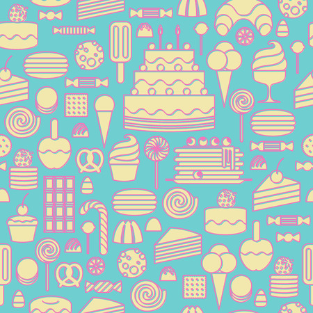 Sweets icons outline style seamless background. Pale pastel colors. Vector