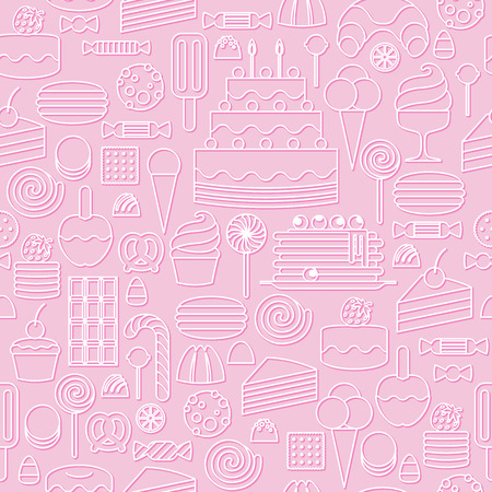 Sweets icons outline style seamless background. Pale pastel colors. Illustration