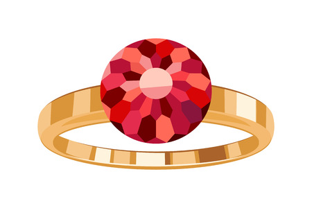 jewelry design: Golden ring with round ruby icon symbol isolated. Flat style jewelry design. Illustration