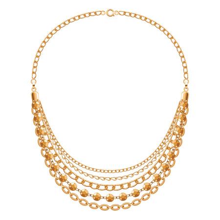 accessoire: Veel ketens gouden metalen ketting. Persoonlijk ontwerp mode-accessoire.