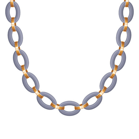 bracelet: Chunky chain golden and silver metallic necklace or bracelet. Personal fashion accessory design.