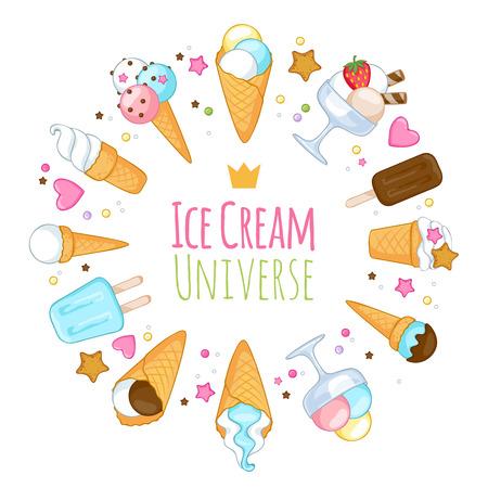 sweet background: Colorful sweet ice cream icons background. Vector illustration. Illustration