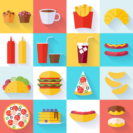 food and beverage: Fast food icons set - flat style. Cheeseburger, pizza, tea, coffee, cola, chips, pancakes, donuts, french fries and  hot dog