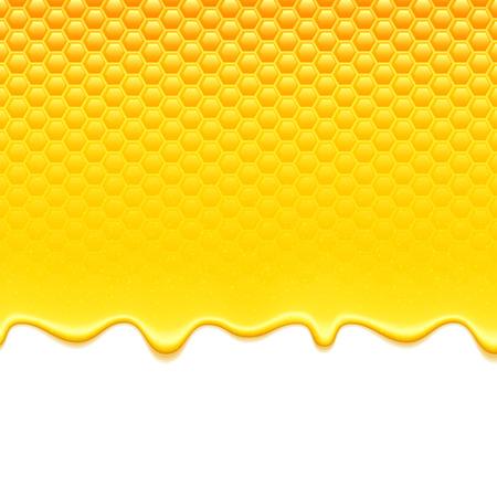 Błyszczący żółty wzór z plastra miodu i słodkiego miodu kroplówek. Słodkie tło. Ilustracje wektorowe