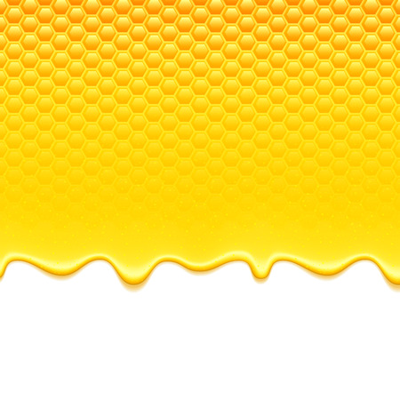 Glossy yellow pattern with honeycomb and sweet honey drips. Sweet background. Vectores