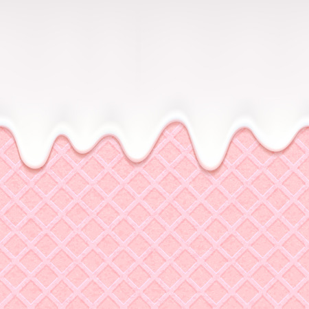 Pink wafer and flowing white chocolate, cream or yogurt. Sweet texture. Soft icing.