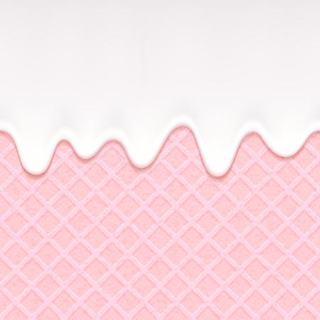 Roze wafer en stromende witte chocolade, room of yoghurt. Zoete textuur. Zachte glazuur.