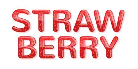 strawberry jam: Strawberry jam word glossy letters. Illustration