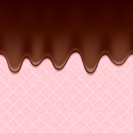 icing: Pink wafer and flowing chocolate. Sweet texture. Soft icing.