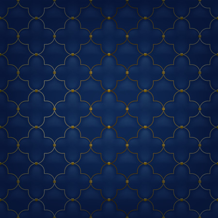 stitching: Quilted simple arabesque seamless pattern. Dark blue color. Golden metalling stitching on textile.
