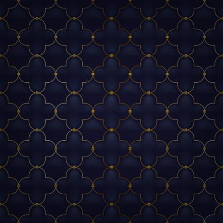 arabesco: Acolchado patrón transparente arabesco simple. De color negro. Costuras firmes de oro en el textil. Vectores