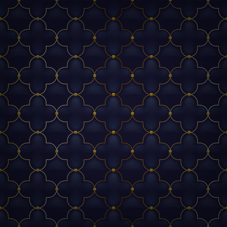 golden color: Quilted simple arabesque seamless pattern. Black color. Golden metalling stitching on textile.
