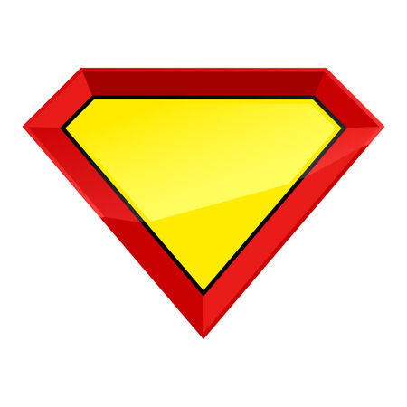 Super man hero empty shield badge template.