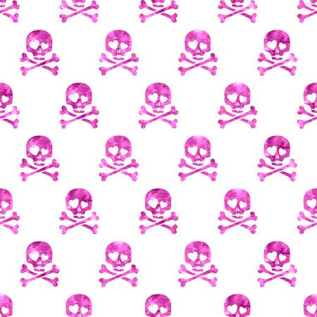 deaths head: Pink glitter skulls in love seamless pattern.