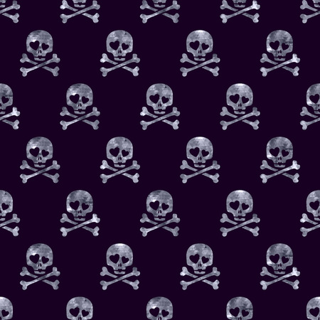 pirate girl: Silver glitter skulls in love seamless pattern.