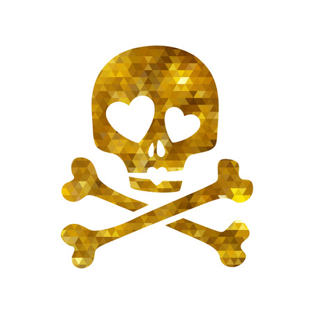 ironic: Golden mosaic faceted luxury skull in love ironic icon.