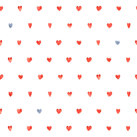 gray dot: Seamless polka dot red and gray hearts pattern. Hearts of small mosaic faceted triangles. Illustration