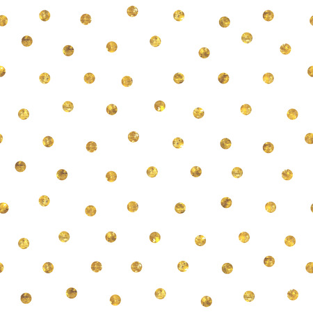 polka: Seamless random polka dot golden pattern. Dots of small mosaic faceted triangles. Illustration