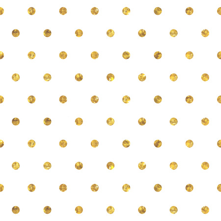 Seamless polka dot golden pattern. Dots of small mosaic faceted triangles.