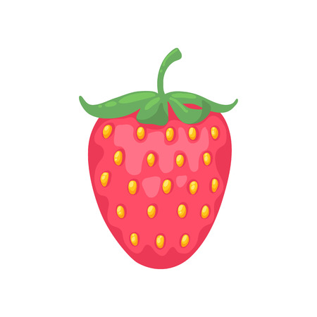 strawberry cartoon: Red strawberry simple cartoon style vector illustration. Berry icon.
