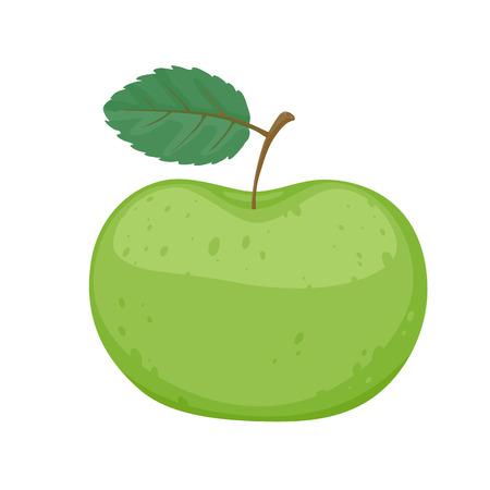 manzana verde: Manzana verde simple ilustraci�n vectorial estilo de dibujos animados. Icono de la fruta. Vectores