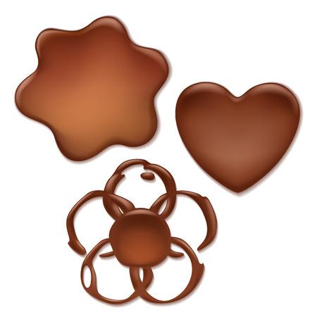 chocolate candy: Chocolate melt blot splash stain set - heart, wave, flower forms.
