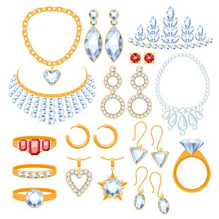 ジュエリー アイテムのセットです。金と貴重な宝石アクセサリーを付けます。  イラスト・ベクター素材