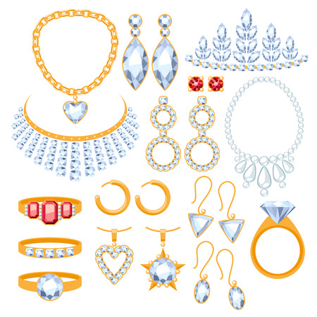 Set of jewelry items. Gold and gemstones precious accessorize.