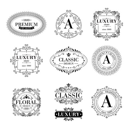 antique fashion: Luxury icon template glamour calligraphic monogram ornament labels set. Good for restaurant royalty boutique hotel heraldic jewelry fashion.