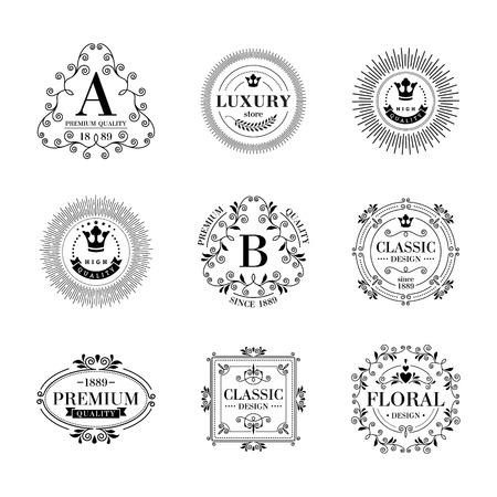 boutique hotel: Icono de lujo glamour plantilla monograma ornamento caligr�fico establecer etiquetas. Bueno para restaurante realeza hotel boutique de joyer�a her�ldico moda. Vectores