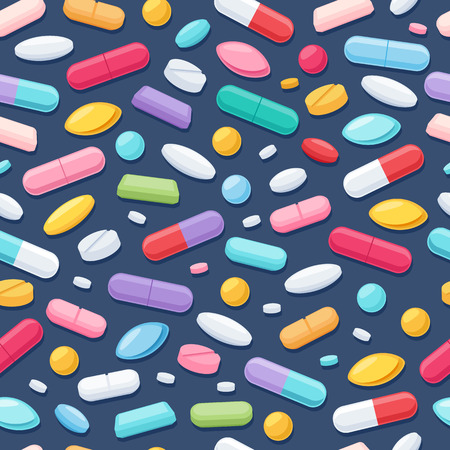 healthcare and medicine: Colorful pills tablets capsules icons seamless pattern. Medicine healthcare symbols.