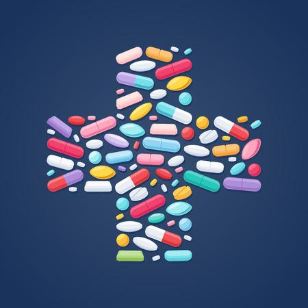 medicamento: Píldoras coloridas tabletas cápsulas iconos en el fondo cruz forma. Símbolos de la salud Medicina.