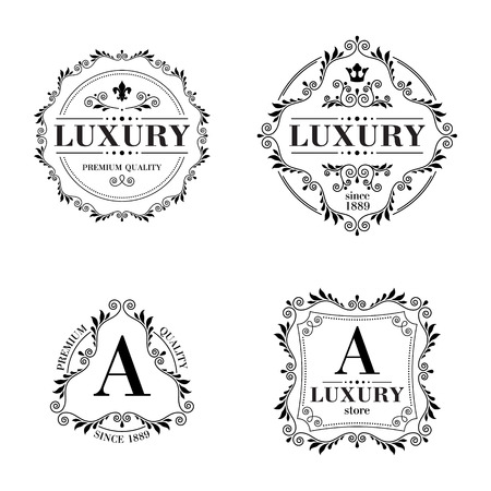 fashion jewelry: Luxury icon template glamour calligraphic monogram ornament labels set. Good for restaurant royalty boutique hotel heraldic jewelry fashion.