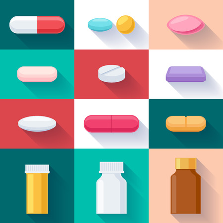 pills bottle: Colorful pills tablets capsules and bottles icons set. Flat style. Medicine healthcare symbols illustration.