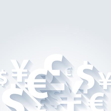 pound: Currencies symbols paper white abstract background. Yen dollar euro pound illustration. Illustration