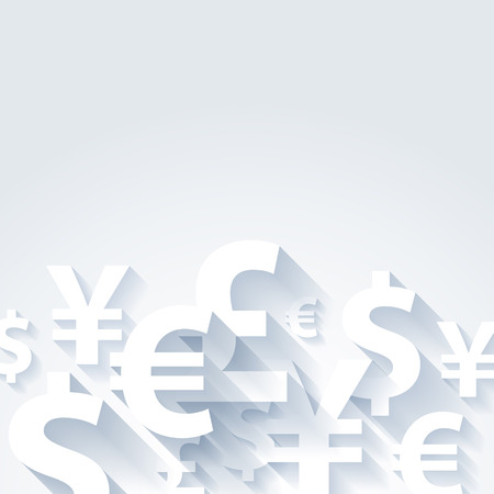 Currencies symbols paper white abstract background. Yen dollar euro pound illustration. Illustration
