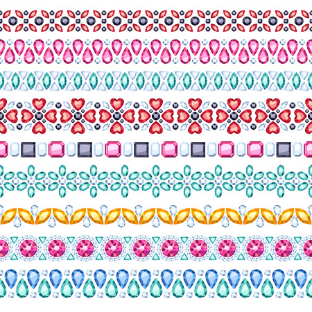 jewelry design: Colorful gemstones seamless horizontal borders set. Ethnic style design. Chain bracelet necklace jewelry.