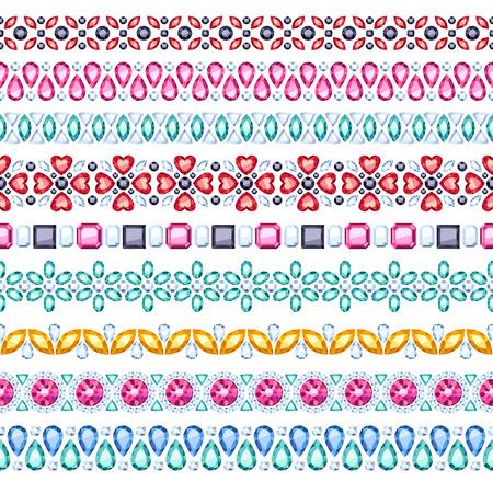 Colorful gemstones seamless horizontal borders set. Ethnic style design. Chain bracelet necklace jewelry.