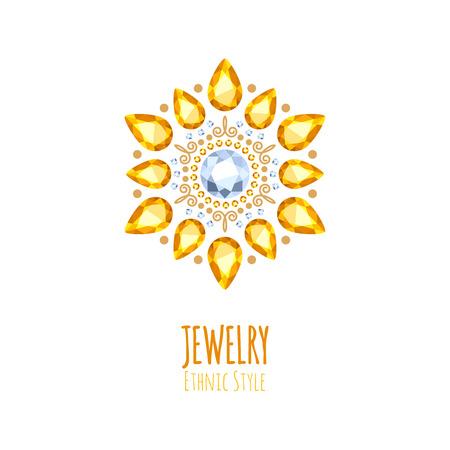 fashion jewelry: Elegant gemstones jewelry decoration. Ethnic floral vignettes. Good for fashion jewelry store design. Illustration