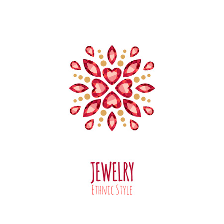 Elegant gemstones jewelry decoration. Ethnic floral vignettes. Good for fashion jewelry store design.