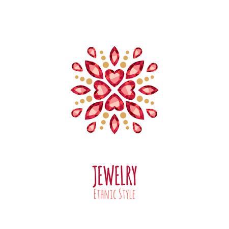 Elegante edelstenen sieraden decoratie. Etnische bloemen vignetten. Goed voor sieraden store design.