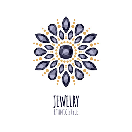 jewelry store: Elegant gemstones jewelry decoration. Ethnic floral vignettes. Good for fashion jewelry store design. Illustration