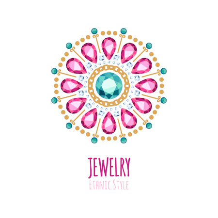 jewelry design: Elegant gemstones jewelry decoration. Ethnic floral vignettes. Good for fashion jewelry store design. Illustration