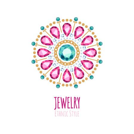 jewelry: Elegant gemstones jewelry decoration. Ethnic floral vignettes. Good for fashion jewelry store design. Illustration