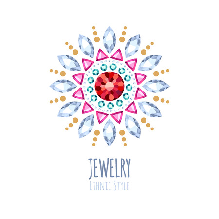 gemstone jewelry: Elegant gemstones jewelry decoration. Ethnic floral vignettes. Good for fashion jewelry store design. Illustration